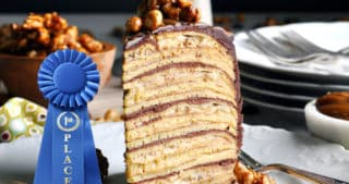 Blue ribbon recipe for Banana Split Crepe Cake