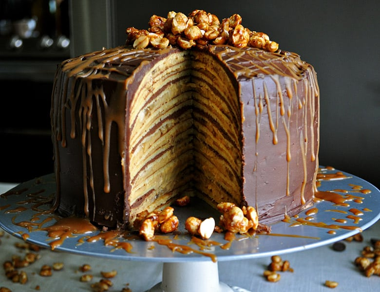 Bananan Split Crepe Cake | low sugar cake | ofbatteranddough.com