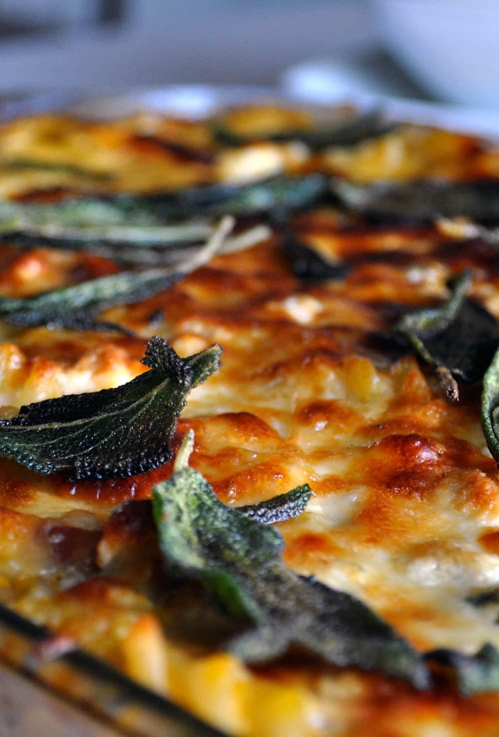 Gluten Free Butternut Squash Pasta with Gorgonzola, Bacon and Sage | ofbatteranddough.com