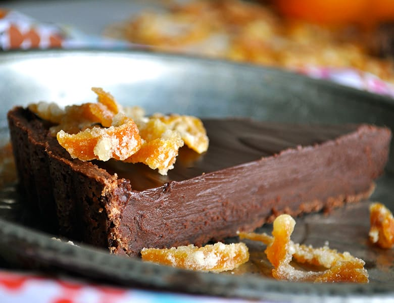 Bittersweet Chocolate Orange Truffle Tart | ofbatteranddough.com