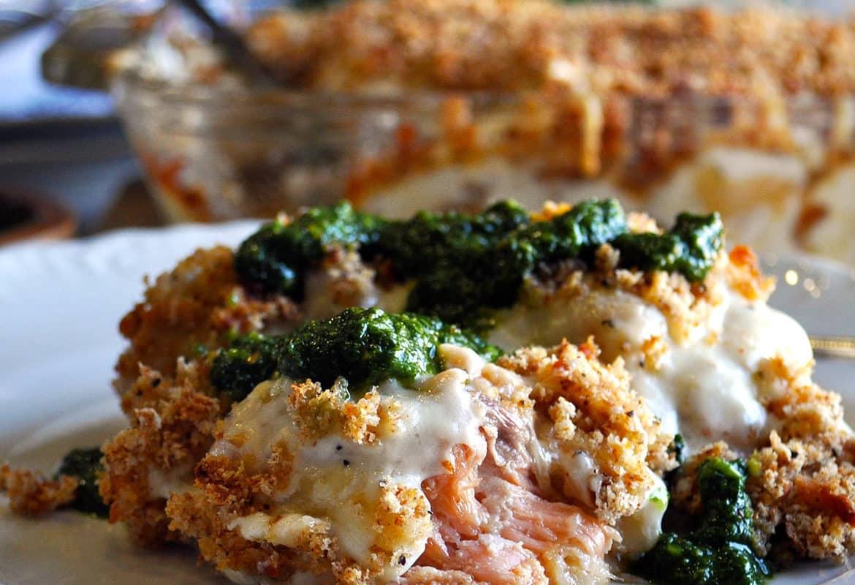 Cheese stuffed shells with smoked salmon | ofbatteranddough.com