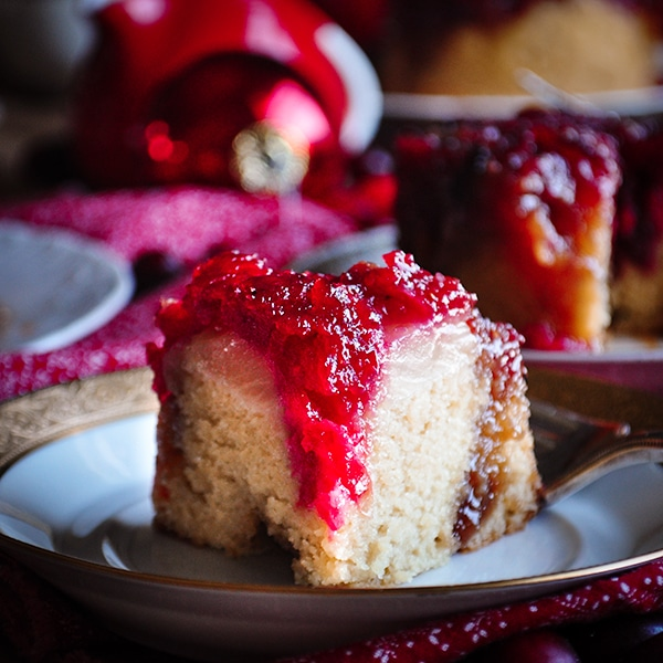 A slice of A cranberry pineapple upside down cake.