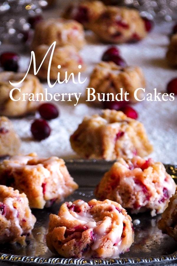 Mini Cranberry Bundt Cakes covered with lemon glaze.