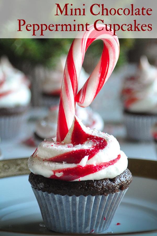 A mini chocolate peppermint cupcake decorated with a mini candy cane.