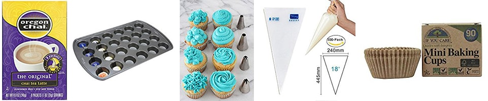Products used to make mini chai latte cupcakes | ofbatteranddough.com
