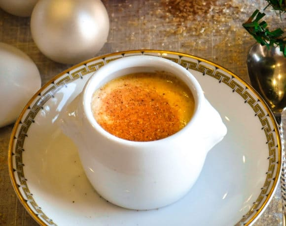 An individual pot of Eggnog Pots de Creme.
