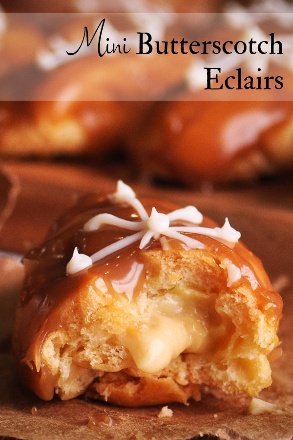 Mini Butterscotch Eclairs filled with pastry cream.