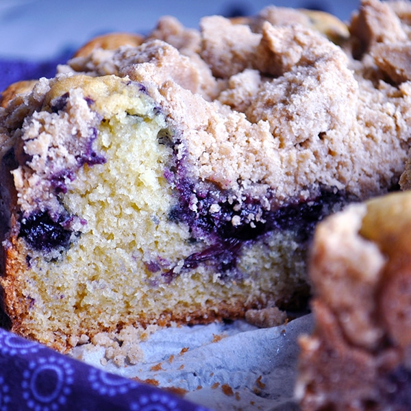 The inside of Blueberry Crumb Cake