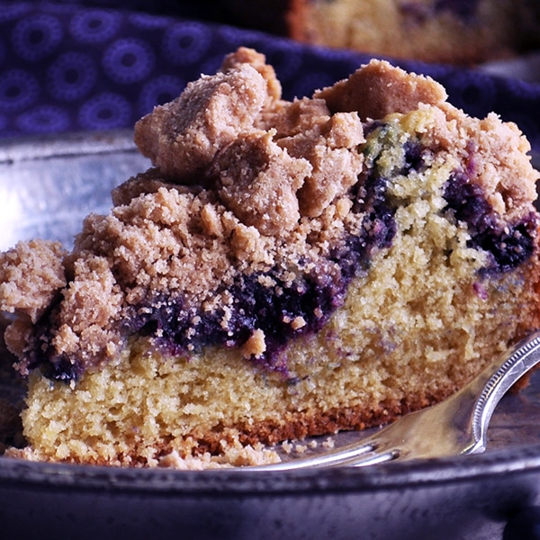 A slice of Blueberry Crumb Cake