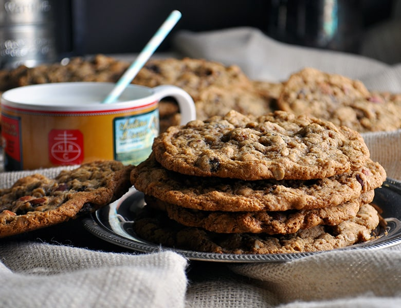 A stack of giant chewy oatmeal raisin cookies.