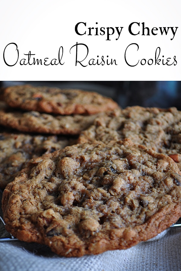 Crispy Chewy Oatmeal Raisin Cookies