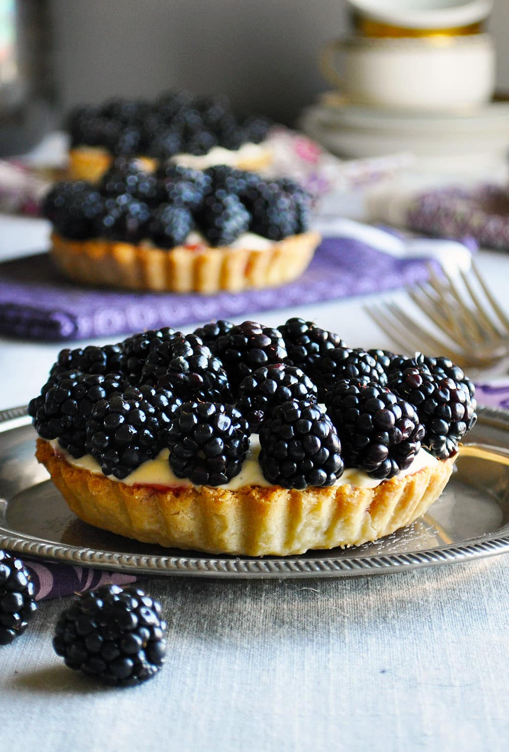 Individual Blackberry Custard Tart