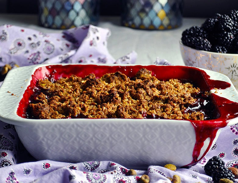 Blackberry Crisp with Cardamom, Almonds, and Pistachios