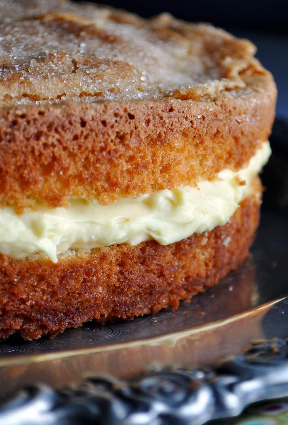 Olive Oil Cake with Lemon Mascarpone Cream Filling