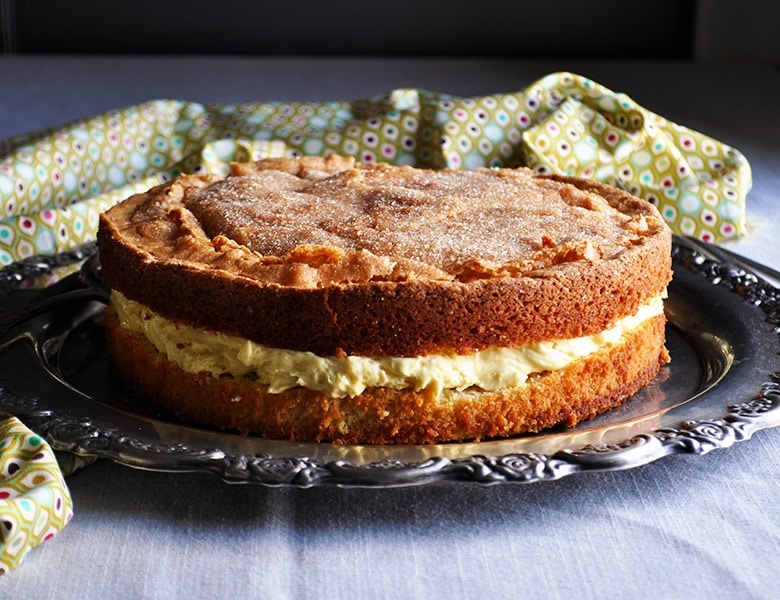 Olive Oil Cake with Lemon Mascarpone Cream Filling