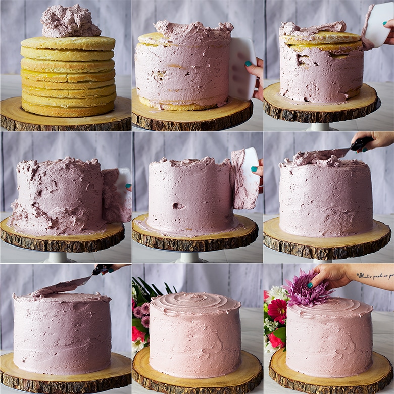 How to frost a layer cake with buttercream.
