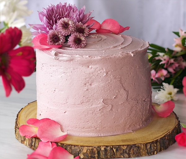 Lemon Layer Cake with Blackberry Italian Meringue Buttercream