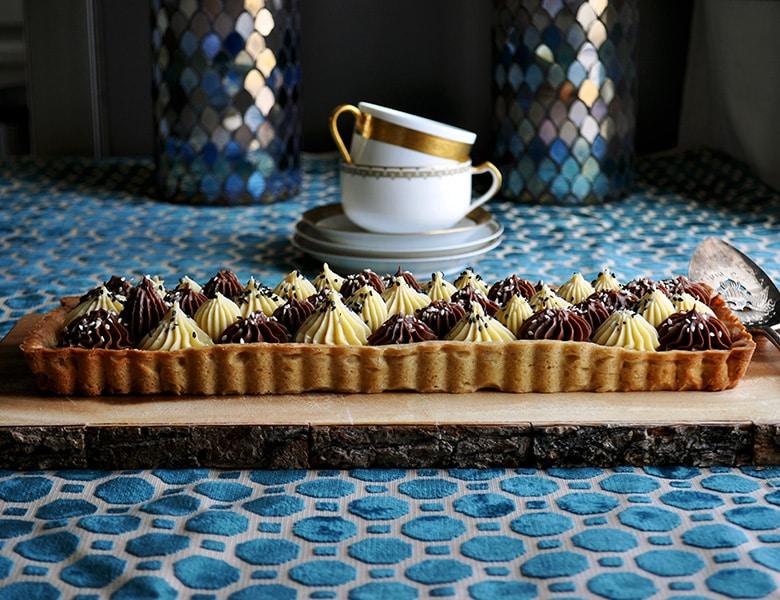 Dark and white chocolate tahini tart.