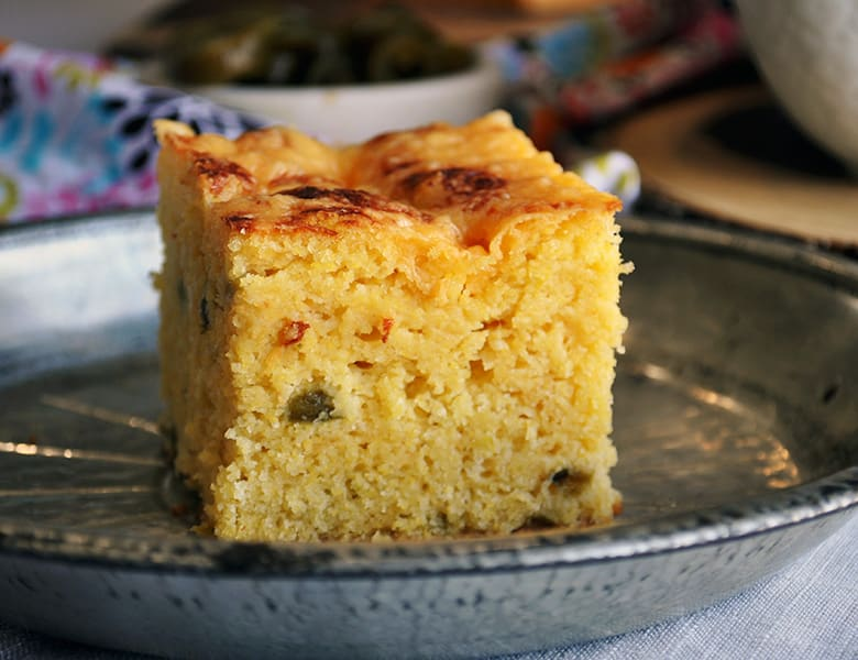 A piece of Buttermilk Cheddar Jalapeño Cornbread.