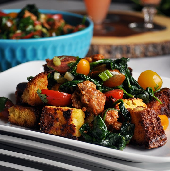 Cornbread Salad with Italian Sausage and Tomatoes