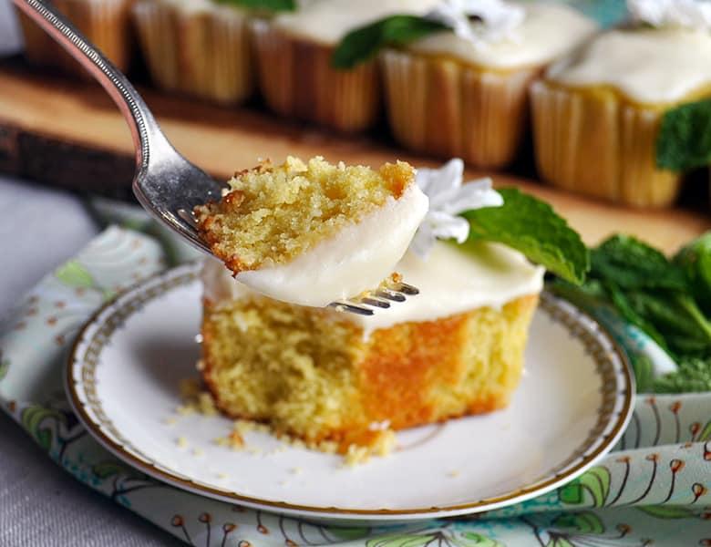 A bite of mini lime pound cake.