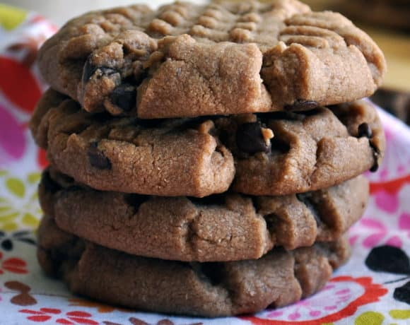 A stack of Peanut Butter Chocolate Chip Cookies made with Nutella.