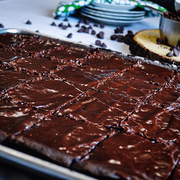 Sheet pan frosted brownies, cut and ready to serve.