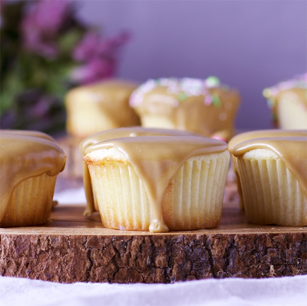 Perfect buttermilk caramel cupcakes with caramel frosting