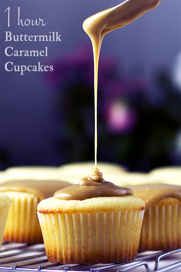 Drizzling caramel frosting over perfect buttermilk caramel cupcakes.