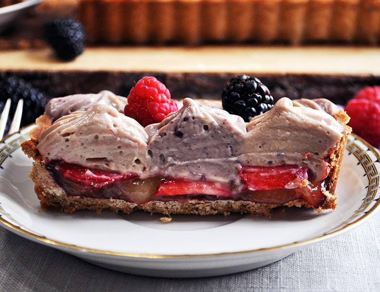 A slice of Mixed Berry and Lemon Custard Tart