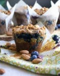 Zucchini Blueberry Muffins with Oatmeal and Almonds