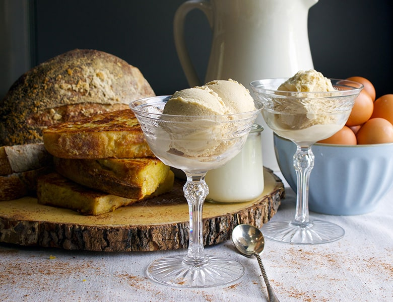 Dishes with homemade French toast ice cream