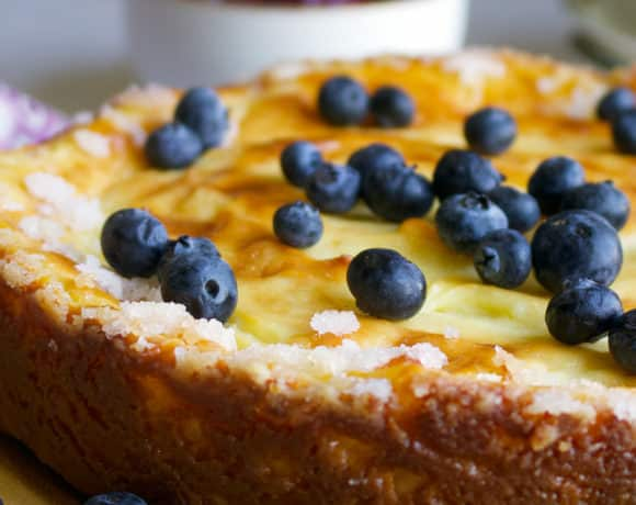 Crustless Custard Tart with fresh blueberries