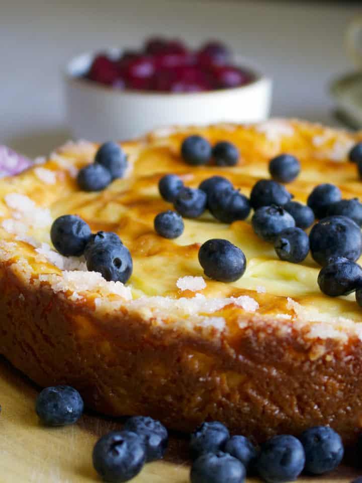 Crustless Custard Tart with fresh blueberries