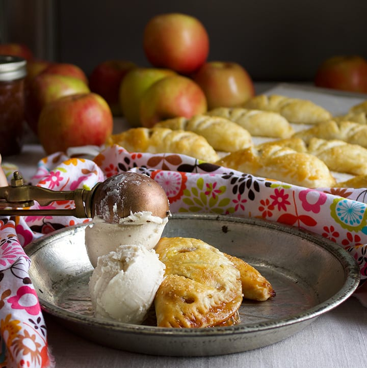 Apple Butter and Cream Hand Pies and ice cream