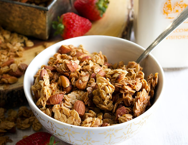 A bowl of Everyone's Favorite Homemade Granola