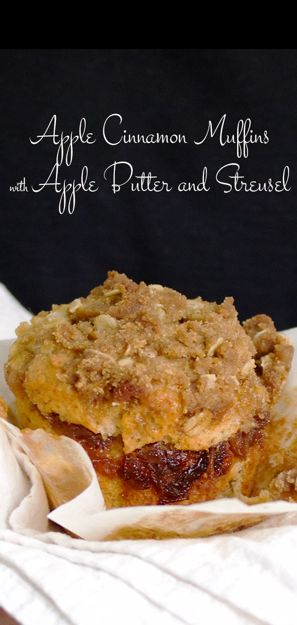 Apple Cinnamon Muffins with apple butter and brown sugar streusel