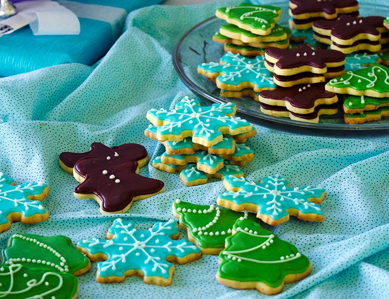 Chocolate frosted brown butter citrus shortbread Christmas cookies.
