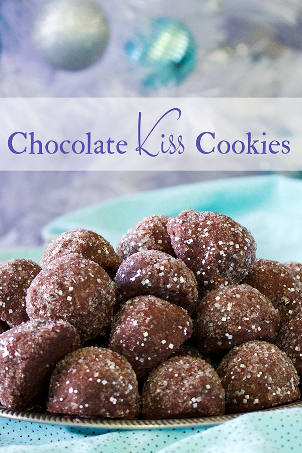 A plate of Double Chocolate Kiss Cookies