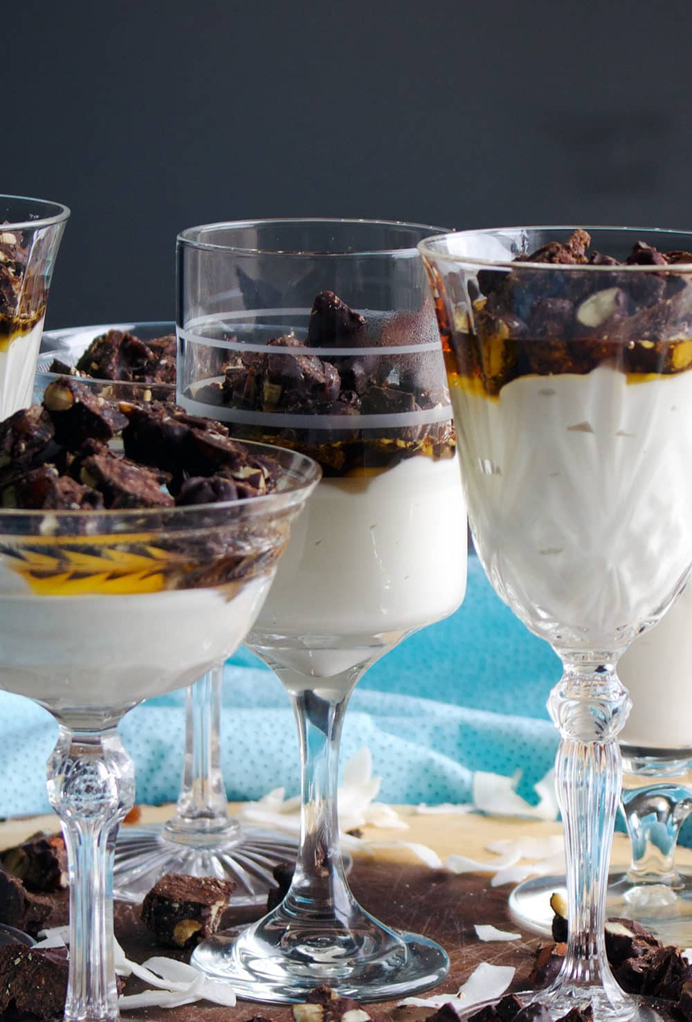 Sugar Free Coconut Maple Panna Cotta with Chocolate Almond Date Clusters
