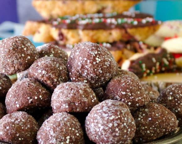 Chocolate shortbread kiss cookies.