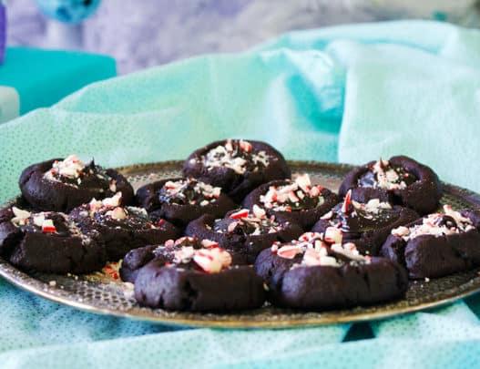 Peppermint Hot Fudge Thumbprint Cookies