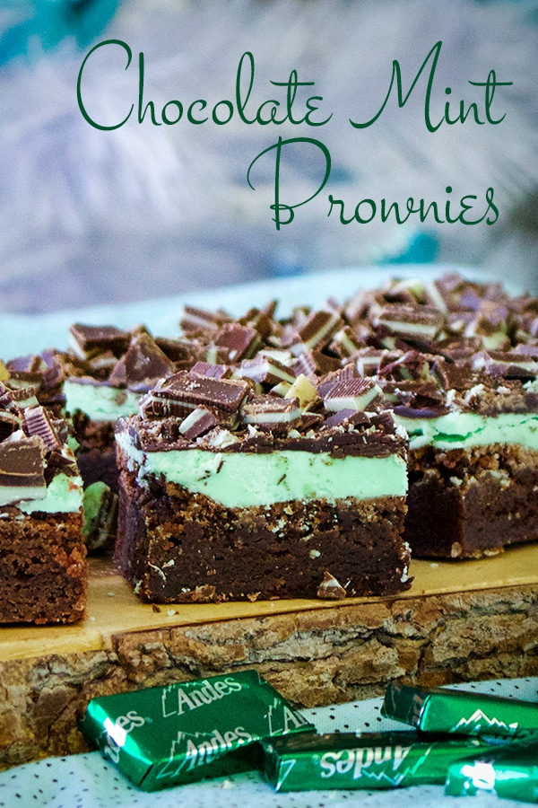 A tray of Chocolate Mint Brownies, cut into slices and ready to eat.