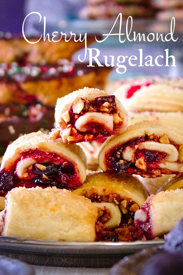 A tray of cherry almond rugelach cookies.