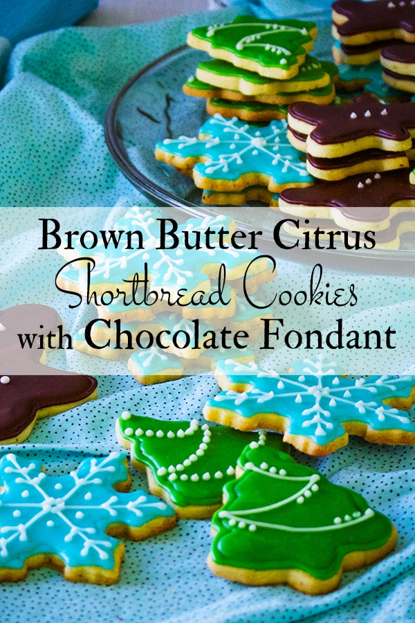Frosted Brown Butter Citrus Shortbread Christmas Cookies
