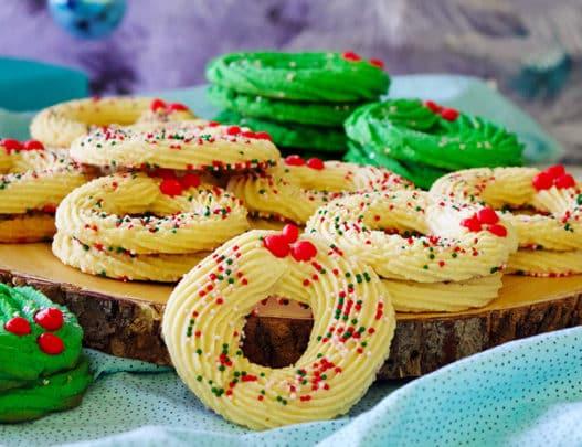 Spritz wreath cookies.