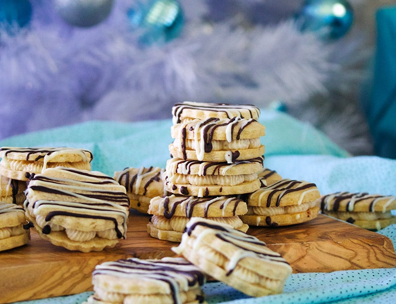 Malted White Chocolate Sandwich Cookies with Halva Buttercream