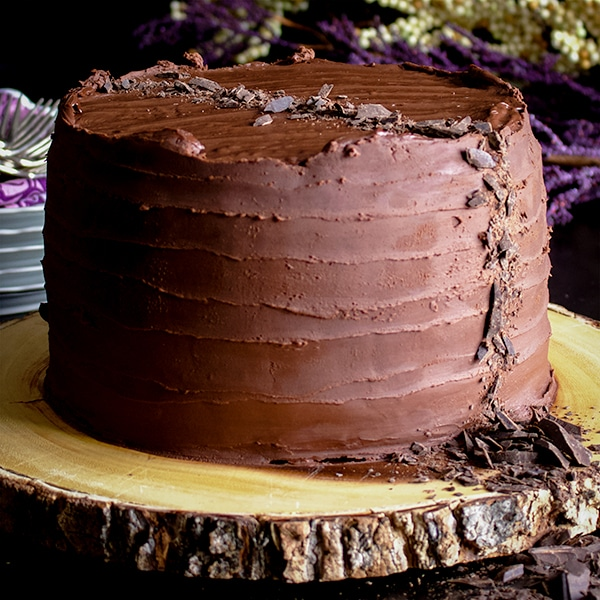 A three-layer Devil's Food Chocolate Blackout cake frosted with chocolate ganache.