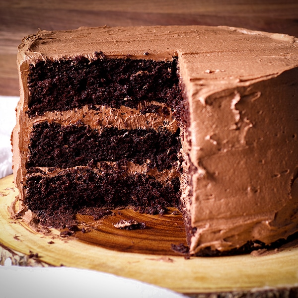 A three layer Devil's Food Cake frosted with Chocolate Buttercream