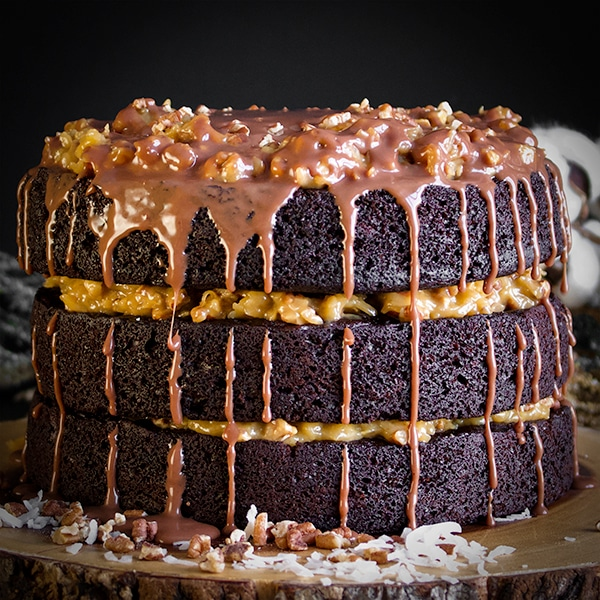 A three layer German Chocolate Cake made with Devil's Food Cake and topped with Chocolate Ganache.